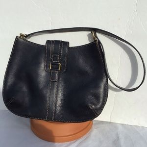 Fossil Black Leather Structured Shoulder Bag